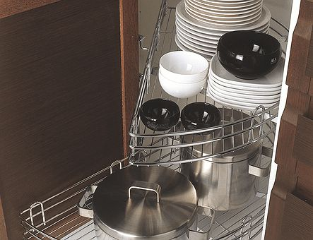 Lineadecor  Corner base unit with 180° wire baskets